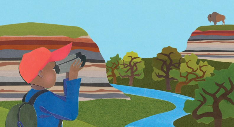 Construction paper cutout of young boy looking through binoculars at landscape.