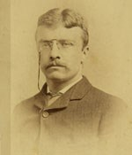 Portrait of Theodore Roosevelt with glasses, circa 1885.