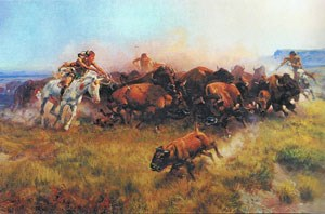 Painting by Charles Russel depicting Plains Indians hunting buffalo on horseback