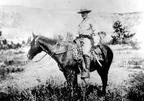 Theodore Roosevelt on horseback in 1886