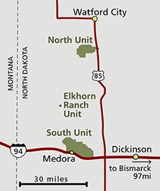 The North Unit is along highway 85 just south of Watford City. The South Unit is on I-94 near Medora. The Elkhorn Ranch Unit is located roughly in the middle, away from all roads.