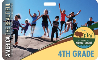 Kids jumping in a line in a National Park