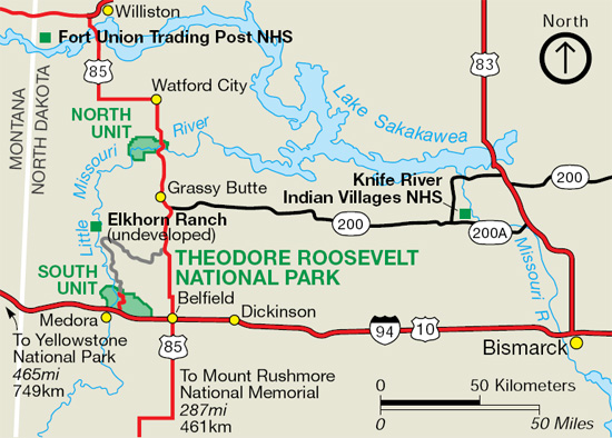 Maps Theodore Roosevelt National Park US National Park Service - North dakota in usa map