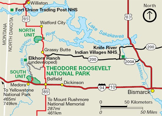 Maps Theodore Roosevelt National Park US National Park Service - Map of nd