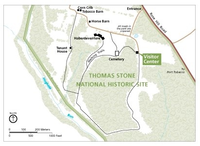 Map of Thomas Stone NHS - trails and facilities
