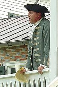 Ranger Scott Hill reading the Declaration of Independence as Thomas Stone