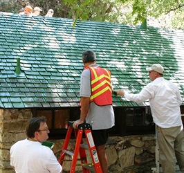 Volunteers assisting at historic rockhouse