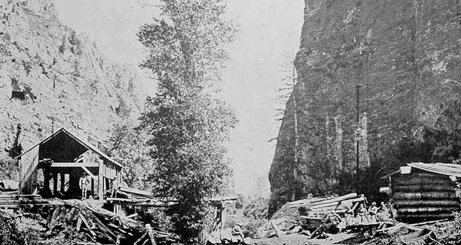Black and white photo of an early sawmill in American Fork Canyon showing outbuildings and piles of logs.