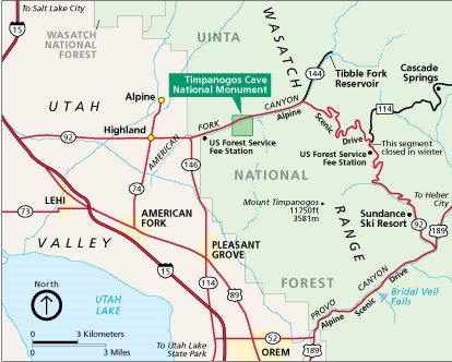 Timpanogos Cave National Monument area map featuring major roads and landmarks.