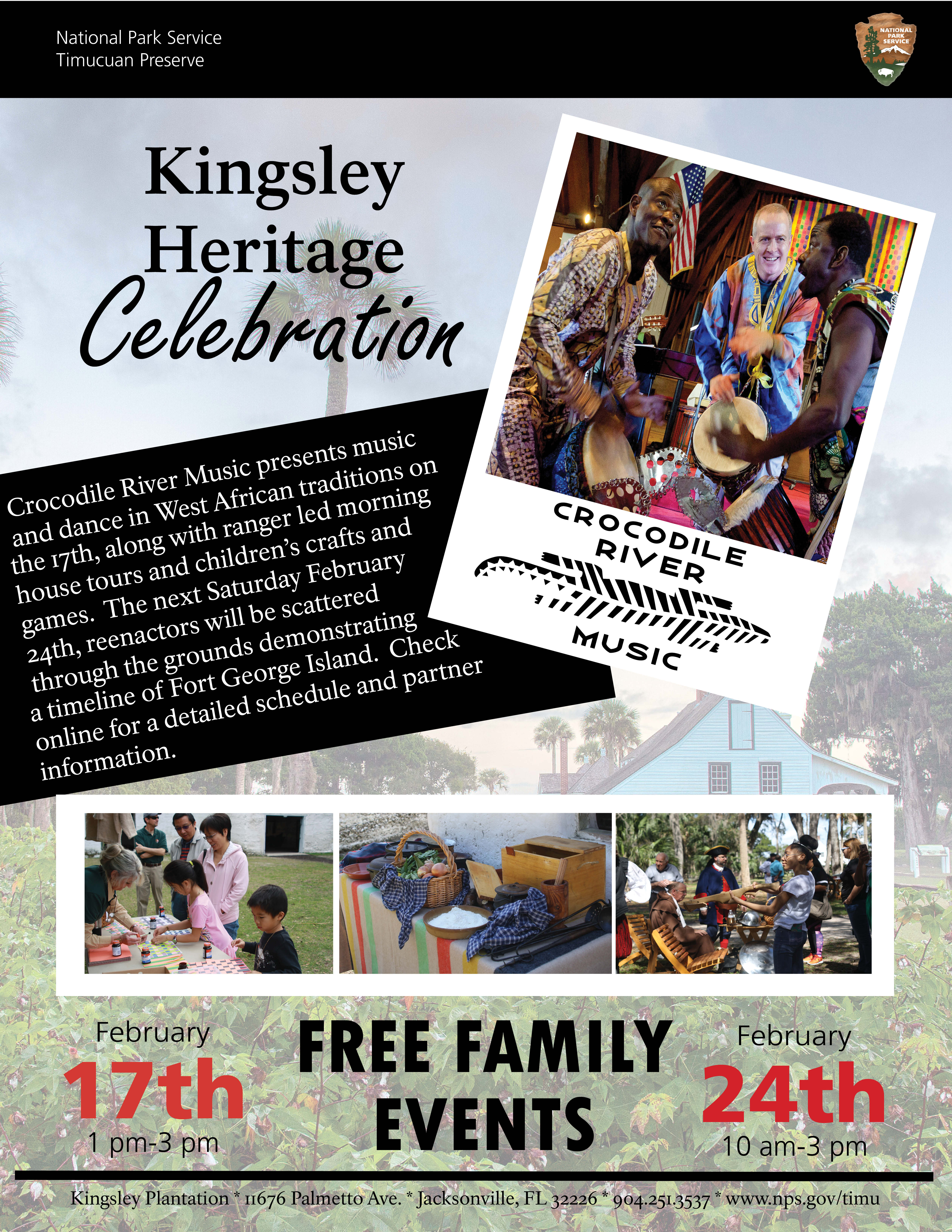 a flyer for the 2018 Kingsley Heritage Celebration showing African dance performers