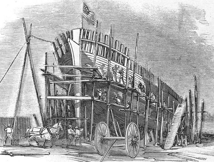 USS Seneca at dry dock being built in 1861