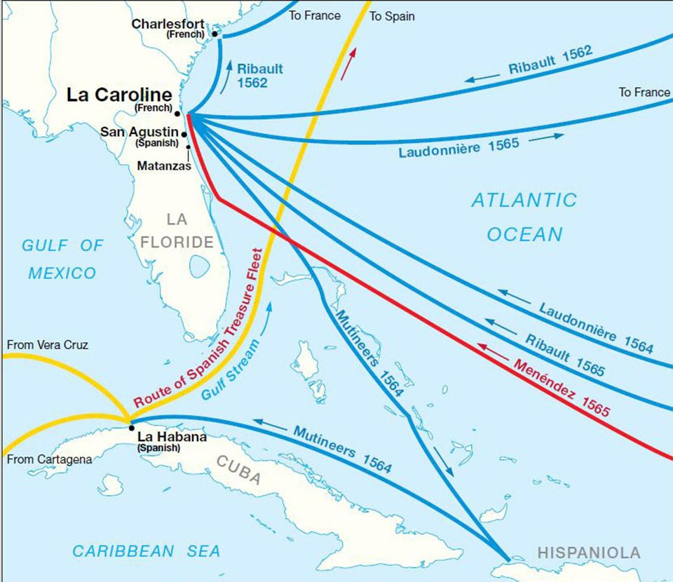 a map illustrating the different paths each voyage took over the Atlantic Ocean. Some routes depict French in blue, the Spanish treasure fleet path in yellow and the Spanish settlers in red.