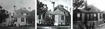 Three historic photographs of the plantation house, showing changes by era.