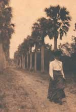 Historic photograph, late 19th century, of a woman walking on Palmetto Avenue
