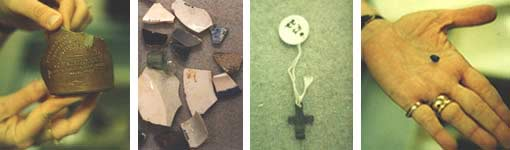 Four images of items found through archaeology at Kingsley Plantation - a bottle, ceramics, a cross, a bead.