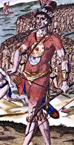Historic drawing showing Timucua chief from head to toe.