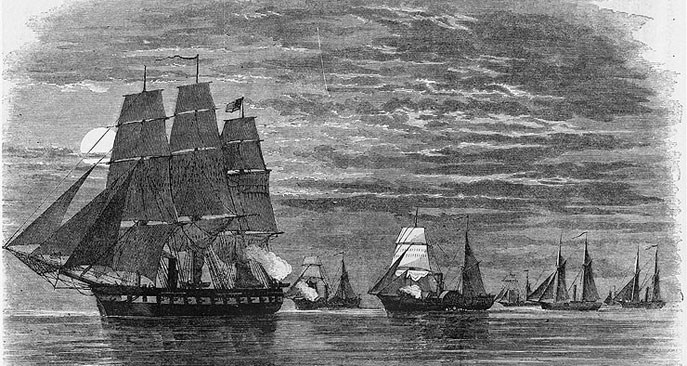 Drawing of naval expedition