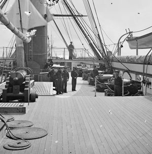 Historic photo of sailors on the deck of the Pawnee