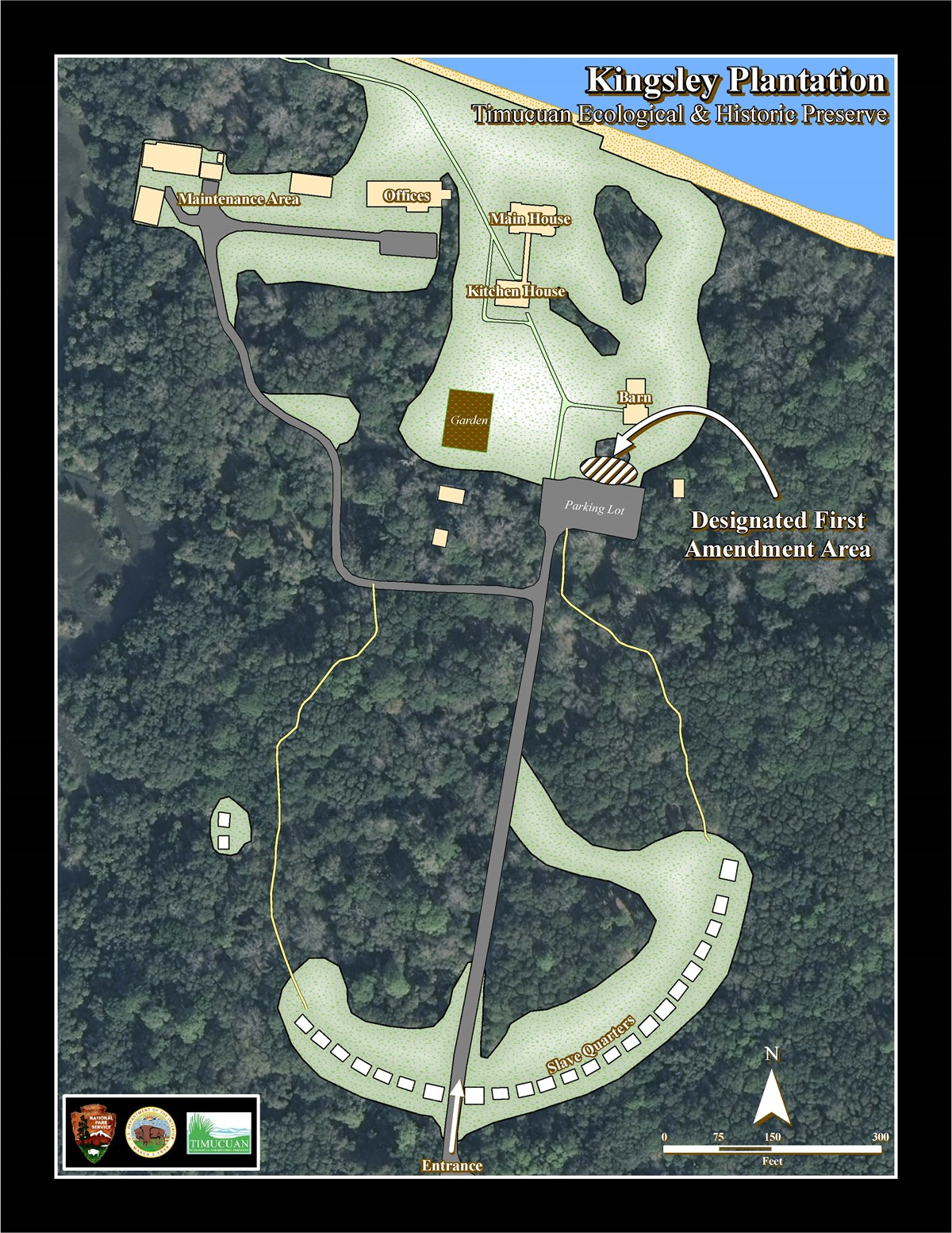 map of Kingsley Plantation designating a free speech area just north of the parking lot.