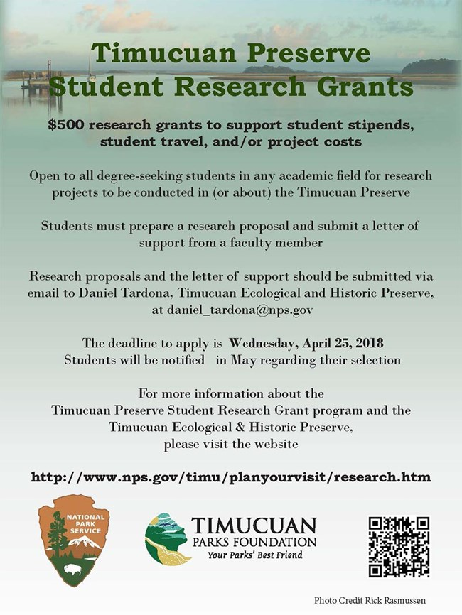 Student research grant flyer with image of wetlands behind the grant information listed on this page