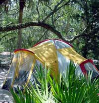 Tent camping at Talbot Islands State Park
