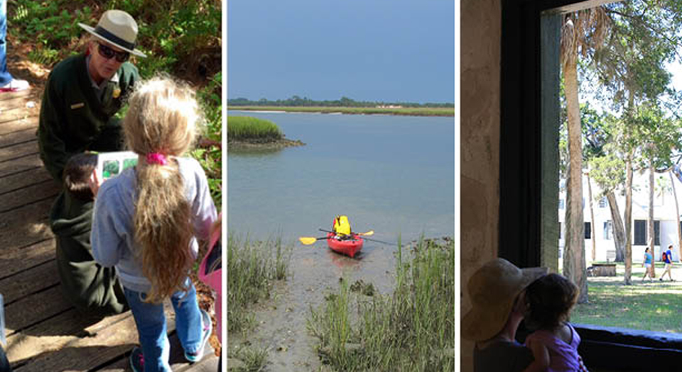 photos of ranger guided hike, kayaks, and family enjoying historic site