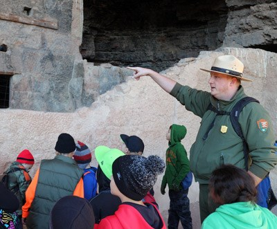 Ranger leading field trip at Lower Cliff Dwelling