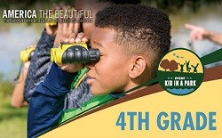 Boy looking into the distance with binoculars