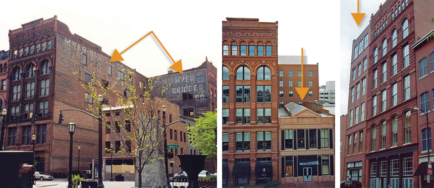 Marvelous Brick Buildings On A City Street With Arrows Pointing To Two Wings Of A  Building