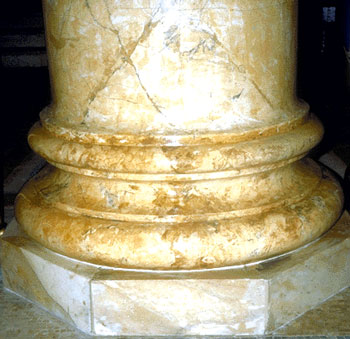 Column base with real marble and imitation marble painted surfaces.