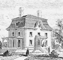 Drawing Of A House With A Mansard Slate Roof.