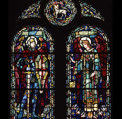 Stained Glass Window With Two Large Arched Portions Depicting Biblical Figures And Three Smaller Elements