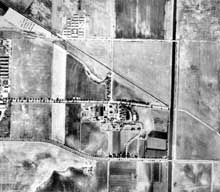 Aerial view of land divisions in Rancho Los Alamitos, California, in 1936.