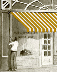 Rendering Of A Man Opening A Striped Awning Over A Storefront Window That  Reads U201cWashington