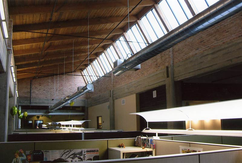 Interior Of An Industrial Building With Exposed Wood Structure And  Clerestory Windows, After Rehabilitation Into