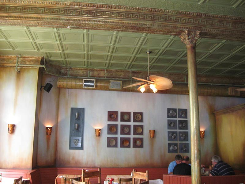 Mechanical Ductwork Painted To Match The Adjacent Historic Metal Ceiling Panels And Friezes