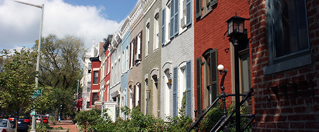 street view of colorful row house in dc - Landscape Federal Row House Plans