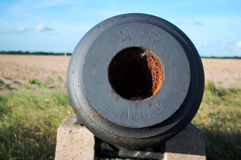 View down barrel of iron cannon