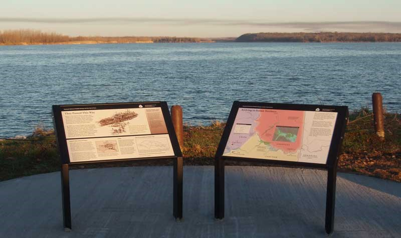 Exhibits along the water route of the Trail of Tears at Sequoyah National Wildlife Refuge, Arkansas