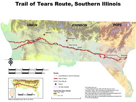 Trail of Tears Illinois map
