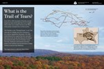 trees in color, blue sky, Indian territory map, Trail of Tears route map