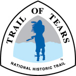 Silhouette of woman standing in the wind on the Trail of Tears National Historic Trail logo