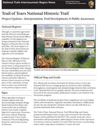 Thumbnail image of the April 2012 newsletter for the Trail of Tears National Historic Trail.