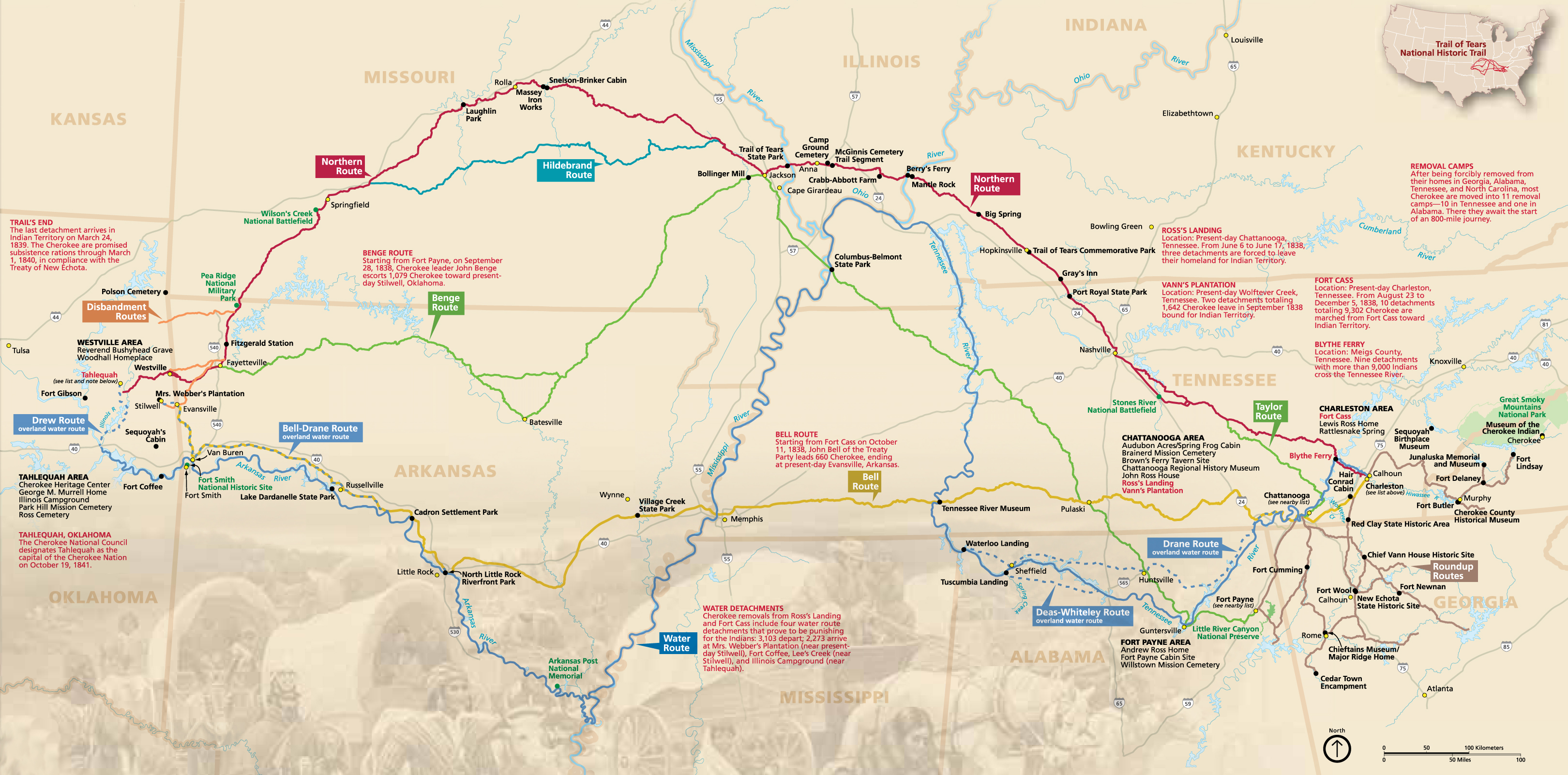 Maps Trail Of Tears National Historic Trail US National Park - Us national parks interactive map