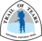 Silhouette of woman standing in the wind on logo for Trail of Tears National Historic Trail