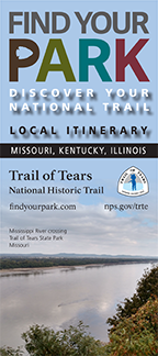 Front of a rack card showing the river at Trail of Tears State Park