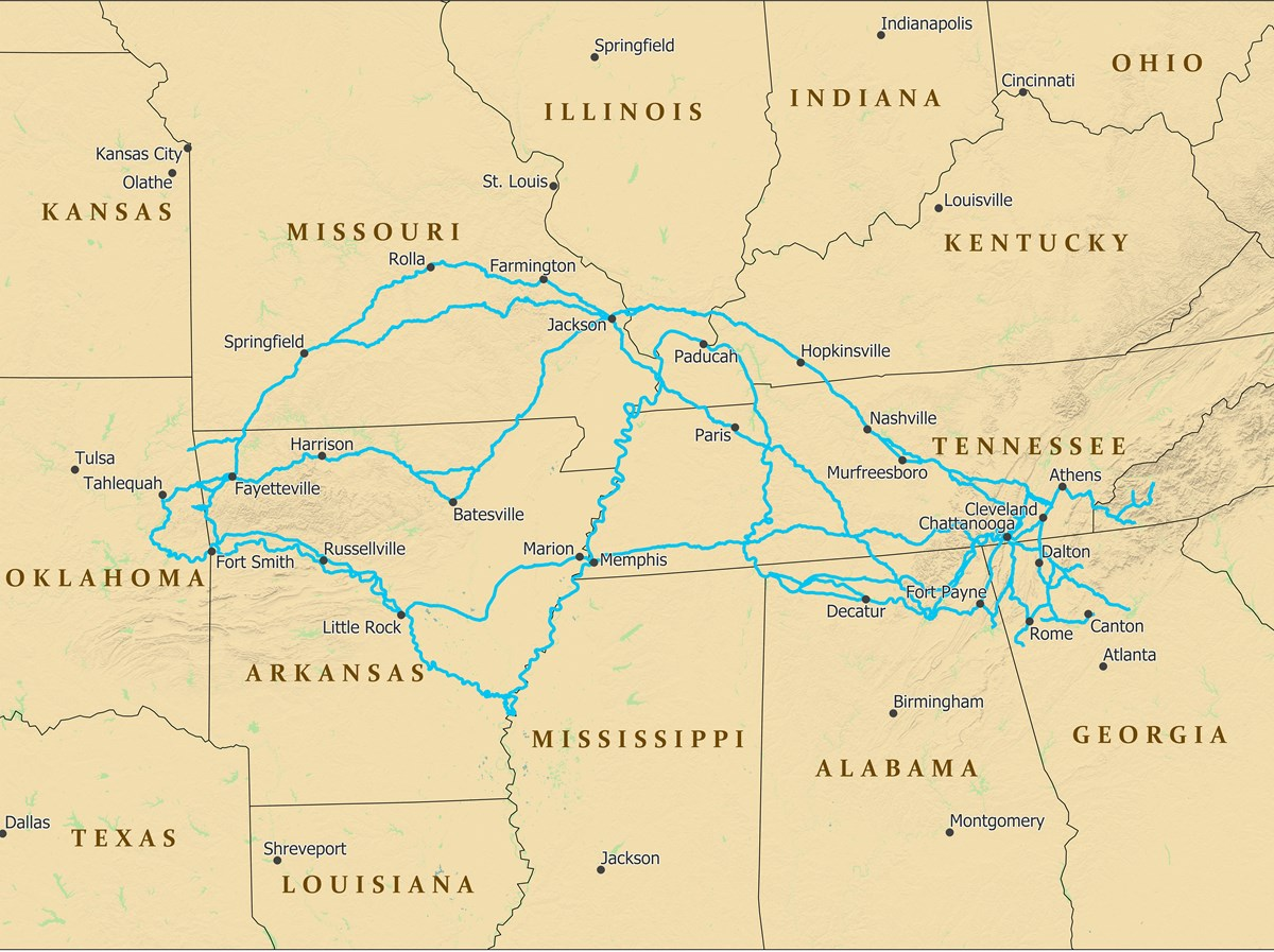 A map depicting trails from southeast US to Oklahoma.