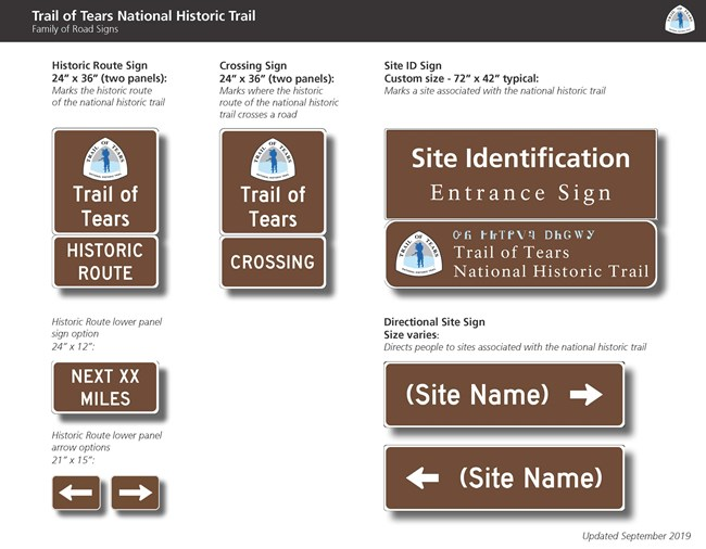 A group of signs that indicate the presence of the Trail of Tears.