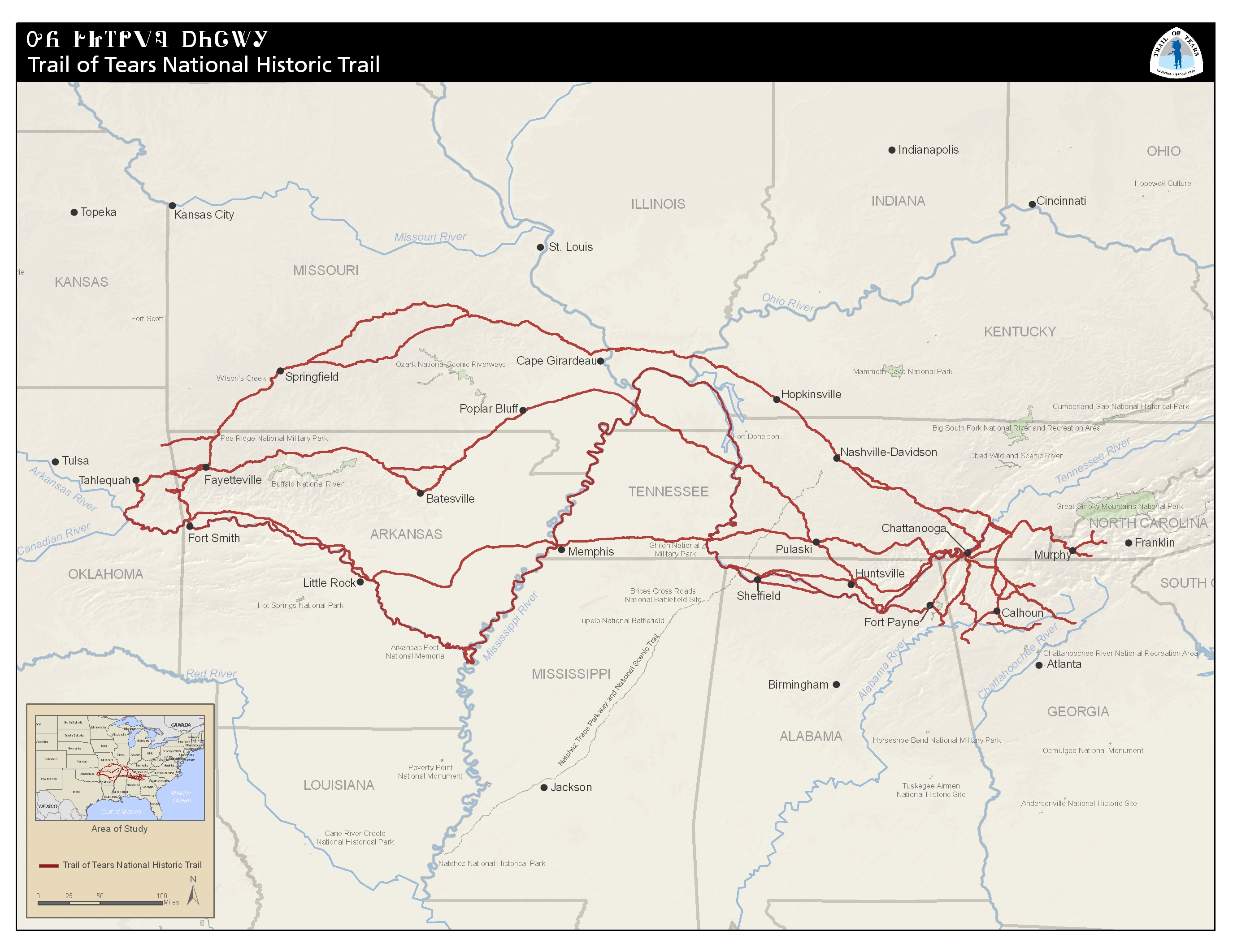 Maps Trail Of Tears National Historic Trail US National Park - Map of us national park historical sites
