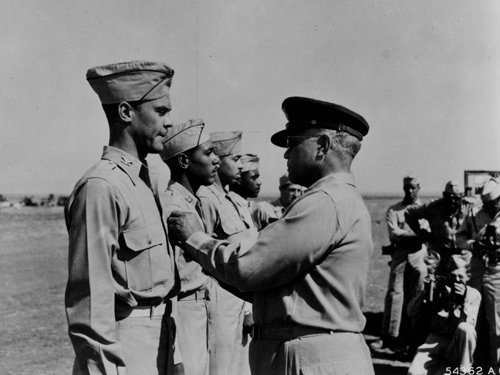 Benjamin O Davis, Jr. Being Recognized by Benjamin O. Davis, Sr.--the First Black General in the US Army